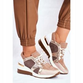 Sportowe Damskie Buty Skórzane Sneakersy Nicole Beżowe 2562 Daina beżowy 2
