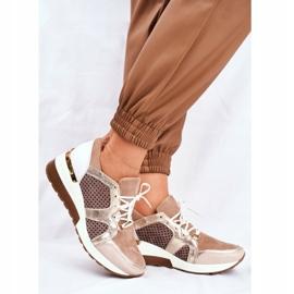 Sportowe Damskie Buty Skórzane Sneakersy Nicole Beżowe 2562 Daina beżowy 1