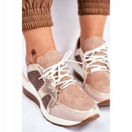 Sportowe Damskie Buty Skórzane Sneakersy Nicole Beżowe 2562 Daina beżowy 4