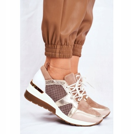 Sportowe Damskie Buty Skórzane Sneakersy Nicole Beżowe 2562 Daina beżowy 3