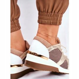 Sportowe Damskie Buty Skórzane Sneakersy Nicole Beżowe 2562 Daina beżowy 5