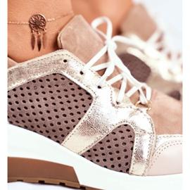 Sportowe Damskie Buty Skórzane Sneakersy Nicole Beżowe 2562 Daina beżowy 6