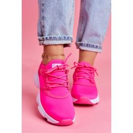 Damskie Sportowe Obuwie Sneakersy Big Star Neon Róż FF274931 różowe 2