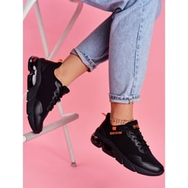 Damskie Sportowe Obuwie Sneakersy Big Star Czarne FF274946 pomarańczowe 2
