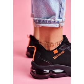 Damskie Sportowe Obuwie Sneakersy Big Star Czarne FF274946 pomarańczowe 3