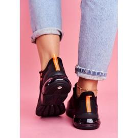 Damskie Sportowe Obuwie Sneakersy Big Star Czarne FF274946 pomarańczowe 4