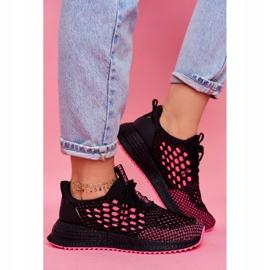 Damskie Sportowe Obuwie Sneakersy Big Star Czarne Fuksja FF274964 różowe 1