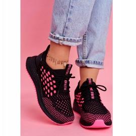 Damskie Sportowe Obuwie Sneakersy Big Star Czarne Fuksja FF274964 różowe 2