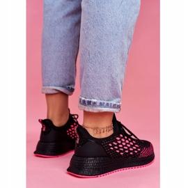 Damskie Sportowe Obuwie Sneakersy Big Star Czarne Fuksja FF274964 różowe 4