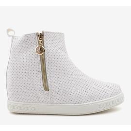 Białe sneakersy botki na koturnie A03 2