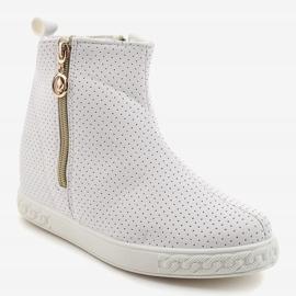 Białe sneakersy botki na koturnie A03 1