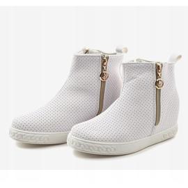 Białe sneakersy botki na koturnie A03 3