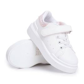 FRROCK Obuwie Sportowe Dziecięce Na Rzep Białe Ilonka różowe 1