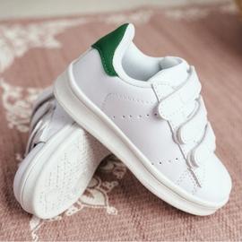 FRROCK Obuwie Sportowe Dziecięce Młodzieżowe Na Rzepy Białe Fifi zielone 3