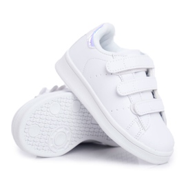 FRROCK Obuwie Sportowe Dziecięce Młodzieżowe Na Rzepy Biało Srebrne Fifi 6