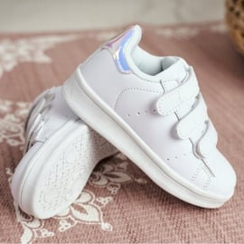 FRROCK Obuwie Sportowe Dziecięce Młodzieżowe Na Rzepy Biało Srebrne Fifi białe 3