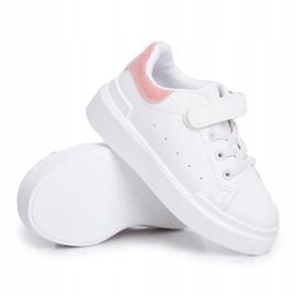 FRROCK Obuwie Sportowe Dziecięce Młodzieżowe Na Rzep Biało Różowe Bilbo białe 1