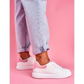 SEA Sportowe Damskie Buty Białe z Różowym Zapiętkiem Milly różowe 1