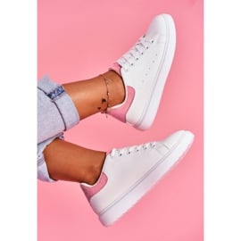 SEA Sportowe Damskie Buty Białe z Różowym Zapiętkiem Milly różowe 2