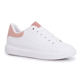 SEA Sportowe Damskie Buty Białe z Różowym Zapiętkiem Milly 3