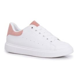 SEA Sportowe Damskie Buty Białe z Różowym Zapiętkiem Milly różowe 3