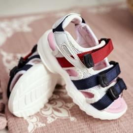 FRROCK Dziecięce Sandały Na Rzepy Dla Dziewczynki Białe Różowe Fima 1
