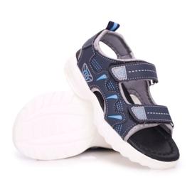 FRROCK Dziecięce Młodzieżowe Chłopięce Sandały Na Rzepy Granatowe Pelgro 4