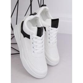Buty sportowe na koturnie białe 85-429 WHITE/BLACK 4