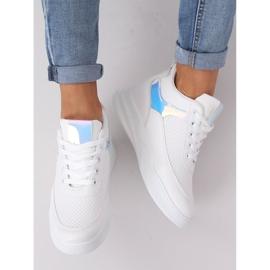 Buty sportowe na koturnie białe 85-429 WHITE/SILVER 1