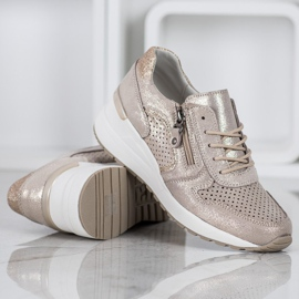 Filippo Złote Sneakersy Z Brokatem złoty 4