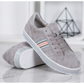 Filippo Skórzane Sneakersy Z Brokatową Platformą szare 2