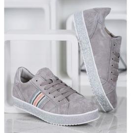 Filippo Skórzane Sneakersy Z Brokatową Platformą szare 3