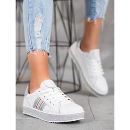 Filippo Skórzane Sneakersy Z Brokatową Platformą białe 1