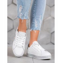 Filippo Skórzane Sneakersy Z Brokatową Platformą białe 4
