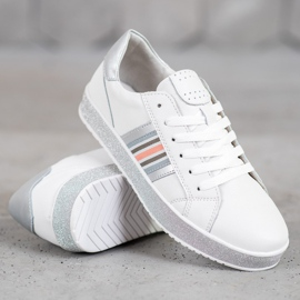Filippo Skórzane Sneakersy Z Brokatową Platformą białe 2
