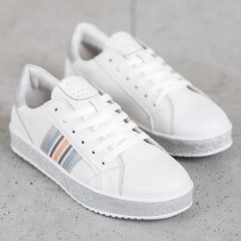 Filippo Skórzane Sneakersy Z Brokatową Platformą białe 3