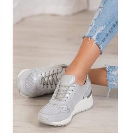 Filippo Srebrne Sneakersy Z Brokatem szare 1