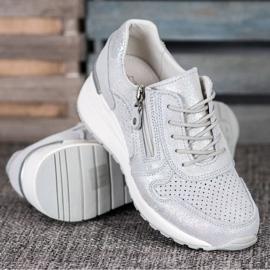Filippo Srebrne Sneakersy Z Brokatem szare 3