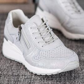 Filippo Srebrne Sneakersy Z Brokatem szare 4