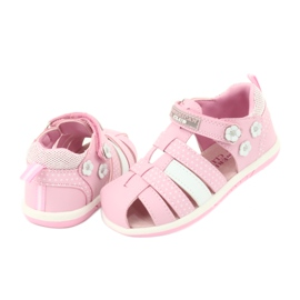 Sandałki dziewczęce American Club DR16/20 białe różowe 4