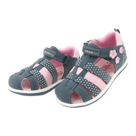 Sandałki dziewczęce American Club DR16/20 białe granatowe różowe 3
