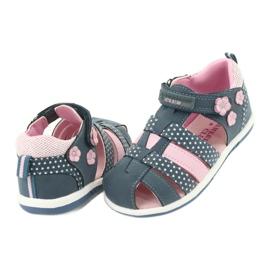 Sandałki dziewczęce American Club DR16/20 białe granatowe różowe 4