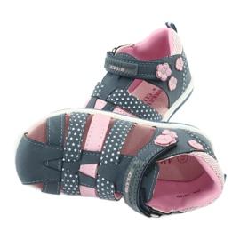 Sandałki dziewczęce American Club DR16/20 białe granatowe różowe 5