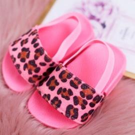 FRROCK Dziecięce Klapki Dziewczęce Brokat Leopard Różowe Rimia 1