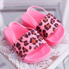 FRROCK Dziecięce Klapki Dziewczęce Brokat Leopard Różowe Rimia 3