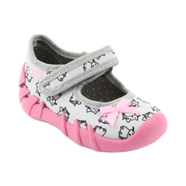 Befado obuwie dziecięce 109P198 czarne różowe szare 1