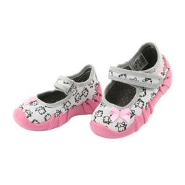 Befado obuwie dziecięce 109P198 czarne różowe szare 3