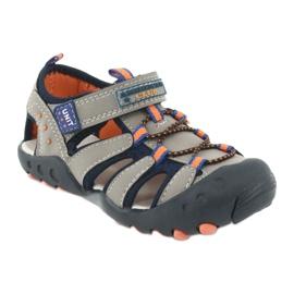 Sandałki chłopięce American Club DR04/20 granatowe pomarańczowe szare 1