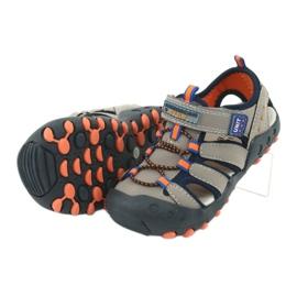 Sandałki chłopięce American Club DR04/20 granatowe pomarańczowe szare 4