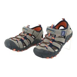 Sandałki chłopięce American Club DR04/20 granatowe pomarańczowe szare 2
